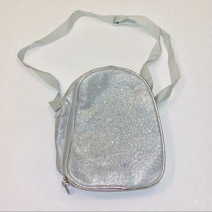 Silver glitter lunch bag